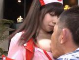 Kinky Japanese nurse in out door fucking action picture 13