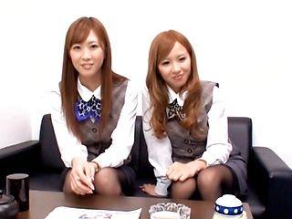 Ayane Sakura and Kotone Amamiya Sexy office lady
