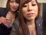 Hot milfs Erika Kitagawa and Misuzu Kawana have sex in the office picture 12