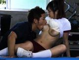 Nastym school girl Nana Ogura gets fucked hard at gym class. picture 15