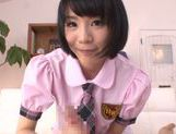 Sweet Asian schoolgirl Airi Suzumura stimulates long cock picture 14