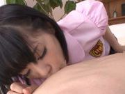 Sweet Asian schoolgirl Airi Suzumura stimulates long cock
