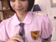 Sweet Asian schoolgirl Airi Suzumura stimulates long cock