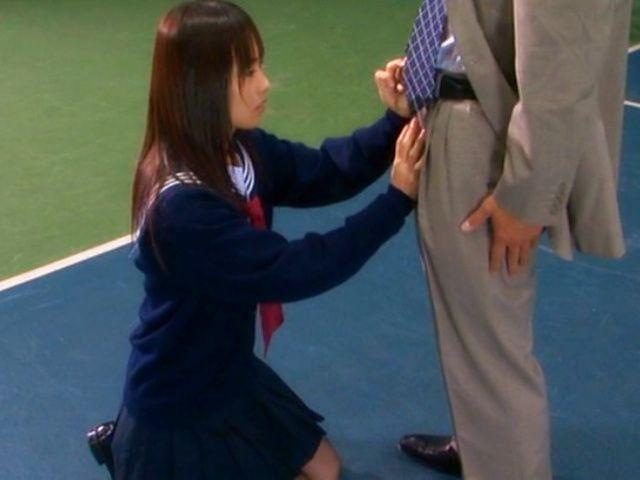 Hikaru Ayuhara Japanese schoolgirl gives a blowjob