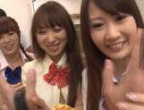 Sweet Japanese schoolgirls in wild cum filled orgy picture 14