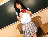 Nice teen Aya Seto classroom pussy stimulation picture 2