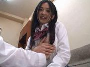 Cute and pretty Asian teen babe getting naked and banged hard on the couch