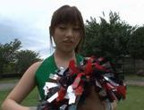 Sexy Japanese teen age cheer leader girl is having fun with sex toys picture 12