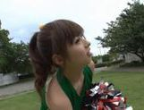 Sexy Japanese teen age cheer leader girl is having fun with sex toys picture 15