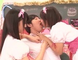 Frisky Japanese young girls share hard cock of impressive guy picture 11