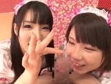 Frisky Japanese young girls share hard cock of impressive guy