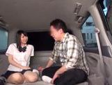 Japanese AV Model in school uniform hardcore action with cumshot picture 12