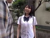 Japanese AV Model in school uniform hardcore action with cumshot picture 3