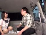 Japanese AV Model in school uniform hardcore action with cumshot picture 9