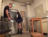 Sexy Japanese AV Model in school uniform enjoying hardcore action picture 1