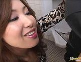 Japanese AV model gives a sensual blowjob