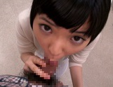 Petite amateur babe Mashiro Ayase deepthroats cock on pov video picture 11