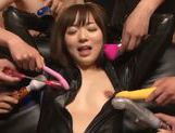 Sexy Japanese enjoys group oral sex session picture 5