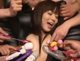 Sexy Japanese enjoys group oral sex session picture 6