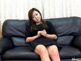 Yumi Aida Asian chick shows hairy pussy and gives a blowjob picture 13