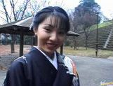 Seire Mochizuki In A Kimono Sucks Off Two Dicks