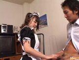 Horny maid Meguru Kosaka performs crazy blowjob