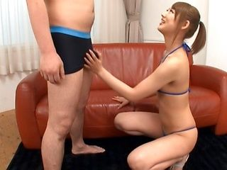 Mao Satsuki Gives A Blowjob On Her Knees In A Mini Bikini