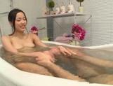 Very sweet Japanese milf Ai Yuzuki deepthroats her lover in a bathroom