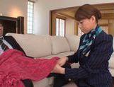 Stewardess Akiho Yoshizawa works magic with her feet in pantyhose picture 11