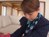 Stewardess Akiho Yoshizawa works magic with her feet in pantyhose picture 15