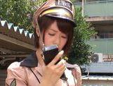 Teen officer Nanami Kawakami sucks a cock in public