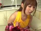 Hot busty Asian chick Kokomi Naruse gives blowjob picture 15