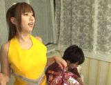 Hot busty Asian chick Kokomi Naruse gives blowjob picture 3