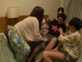 Sexy girls sharing cock in nasty Japanese group action