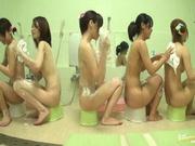 Bathhouse naked Japanese women with peeping dude Mako Higashio