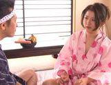 Shiori Misaki Asian milf in kimono has a thing for food