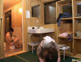 Japanese hottie fucks the bath cleaning dude!