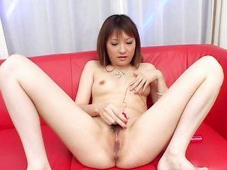 Rika Sonohara masturbates all alone in her bedroom with a vibrator.
