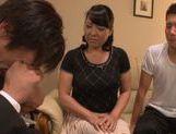 Busty Japanese mature Emiko Ejima gives hot double blowjob