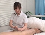 Asian nurse gets busy with a stiff dong to fuck picture 15