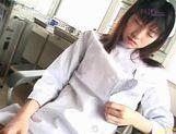 Saki Budou sucks masturbation in nurse outfit