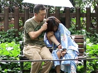 Japanese babe has outdoor sex
