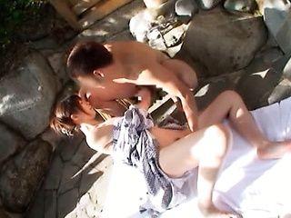 Japanese AV Model is an arousing milf in the outdoor baths