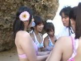 A group of fancy Japanese AV Models fuck horny guy outdoors picture 1