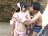 A group of fancy Japanese AV Models fuck horny guy outdoors picture 3