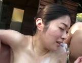 Peachy Asian married chick Ayumi Shinjyou gets her nude body soaped