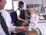 Gorgeous office milf Akari Asahina gives an arousing footjob picture 10