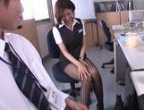 Gorgeous office milf Akari Asahina gives an arousing footjob picture 12