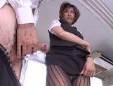 Akari Asahina hot milf in sexy pantyhose sucks hard cock