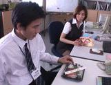 Gorgeous office milf Akari Asahina gives an arousing footjob picture 5
